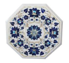 """12""""x12"""" Marble Marquetry Top Coffee Table Semi Precious Christmas Gifts Decor"""