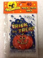 Package Of 40 Halloween Trick Or Treat Bags 6x4 Pumpkin Ghost 1988 NEW NIP #2916