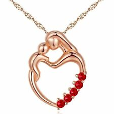 "Mother and Child Pendant Lab Ruby Gemstone Sterling Silver Necklace 18"" Chain"