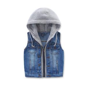 Kids Sleeveless Jacket Hooded Waistcoat Jeans Denim Vest Cowboy Coat