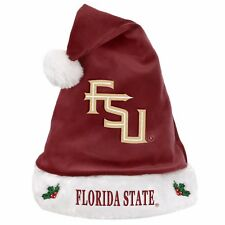 Florida State Seminoles Team Logo Holiday Plush Santa Hat NEW Christmas Solid