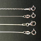 Various Genuine Solid 925 Sterling Silver 1mm Necklace Chain - 4 lengths