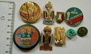 Set 9 FIFA World Cup England 1966 Mexico 1970 Germany 1974 Italy 1990 badges