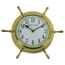 Solid Brass Ships Wheel Helm Shipwheel Wall Clock Nautical Beach/Boat/Ship Decor