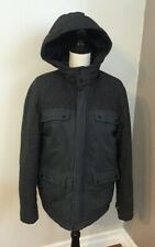Old Navy Men's Gray Wool Blend Hooded Lined Winter Coat Size Small -EUC