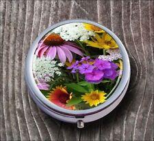 FLOWERS IN SPRING SEASON PILL BOX ROUND METAL -hc4r