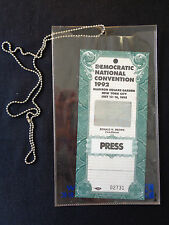 1992 DEMOCRATIC CONVENTION PRESS PASS Madison Square Gardens NY
