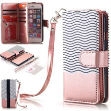 For iPhone 8 Plus Luxury Wallet Case Slim Flip Leather Removable Magnetic Cover