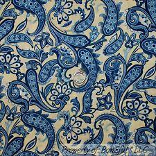 BonEful Fabric Cotton Quilt Yellow White Blue Flower Paisley Star American SCRAP