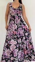 JEANSWEST Black Pink Floral Print Tiered Sleeveless Maxi Dress Size AU 12 Boho