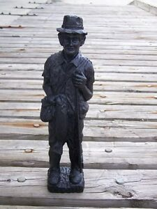 Fisherman Hand-Crafted Kentucky Coal Figurine ~ Folk Art ~ New