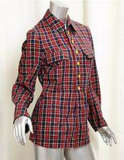 COMMES DES GARCONS Red Plaid Tartan Gold Button Up Shirt Top Blouse s.Sm