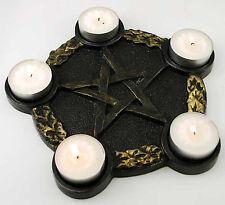 """Pentacle Pentagram Tealight Candle Holder Black Gold Altar Plate Five Resin 7"""""""