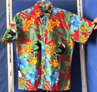 EUC Bright FLOWERS Hibiscus & TOUCAN Print HAWAIIAN SHIRT Short Sleeves Sz M
