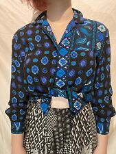 Vintage 70's Gilda of California Blouse Small Blue Black Paisley Pattern Usa