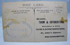 THOM & CUTHBERTSON TAILOR WOLVERHAMPTON ANTIQUE EDWARDIAN ADVERTISING POSTCARD*