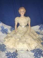 antique reproduction parian doll 16.5 inches, headband, pink body, blue boots