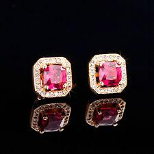 CZ Stud Earrings 18K yellow gold-filled 2ct princess cut halo square men women