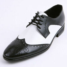 Men's black & white leather wing tips brogue open lacing oxfords