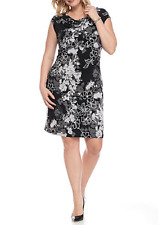NWT CONNECTED BLACK WHITE FLORAL CAREER SHEATH DRESS SIZE 18 W WOMEN $98