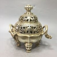 fengshui palace Silver copper dragon Statue Hollow out tow Ears Incense Burner