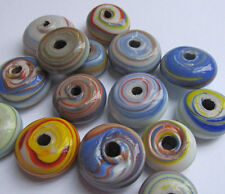 25 Vintage Glass 80s Hand Painted BIG Swirly Multicolor Hippie Beads 20mm x 10mm