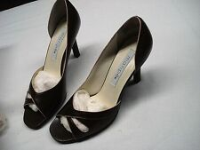 NEW NIB MARIPE HISEY BROWN WITH PINK TRIM HEELS PUMPS LEATHER UPPERS SIZE 7.5M