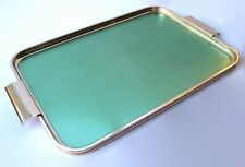 More details for vintage woodmet drinks cocktails serving tray green & gold aluminium 1950/60s