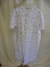 "Ladies Nightie EWM UK 14-16 M white & blue floral bust 42"" length 40.5"" 8225"