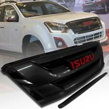 GLOSS BLACK FRONT GRILL GRILLE+LINE BONNET FIT FOR ISUZU DMAX D-MAX 2015 16 17