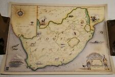 """South Africa And Zimbabwe Map BLUE RHINO Illust. by Chris Robitaille 16x23"""" HP"""