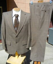 Vintage Late 1960s Plaid Wool Suit 40S 39x29 ALTERABLE - by Botany 500 FREE SHIP