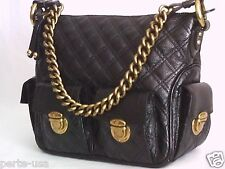 MARC JACOBS QUILTED LEATHER MULTI-POCKET HOBO HANDBAG BLACK MADE IN ITALY XLNT