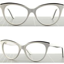 Cateye Womens Plastic Frames Spring Hinges Acetate RX Prescription Glasses White