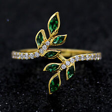 Emerald & Diamonds Leaf Cocktail Ring 14kt Solid Yellow Gold Ring For Gift