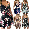 Womens Holiday Summer Beach Mini Jumpsuit Ladies Floral Shorts Romper Playsuits