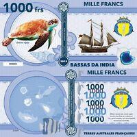 Bassas da India 1000 francs 2018 UNC Green Sea Turtle Sailing Ship Private Issue