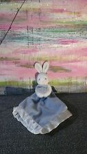 SECURITY Blanket  BABY Plush Blue White Bunny Rabbit Lovey satin trim connection