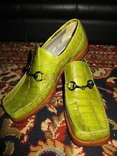 RARE Mauri Italy Green Alligator Crocodile Loafers Slip On Suit Dress Shoes 10