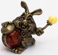 Solid Brass Amber Figurine of Rabbit Bunny Hare w drum IronWork