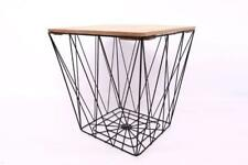 Square Modern Geometric Retro Black Metal Wire Wood Lamp End Side Storage Table