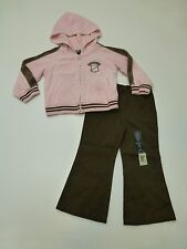 Osh Kosh Girls Size 2T Velour Hoodie & Faded Glory Size 24M Brown Pants Outfit
