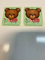 Vintage CTP Scratch & Sniff Stickers  Rose Teddy Bear  Dated 1983