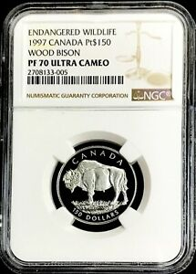 1997 PLATINUM CANADA 661 MINTED $150 WOOD BISON 1/2 oz NGC PROOF 69 ULTRA CAMEO