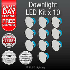 10 PK Led Down Light 240 Volt 3 Colour super bright 850 Lumens 10 Watt Dimmable