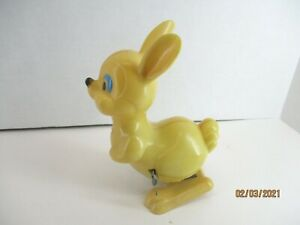 Vintage Plastic Hopping Bunny Rabbit Wind Up Toy Item 3724 by Easter Unlimited