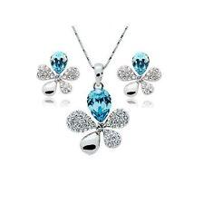 Blue Crystal Stones Flower Petal Leaf Earrings & Necklace Jewellery Set Gift UK