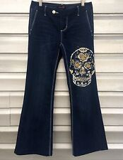 SEVEN FOR ALL MANKIND Hand Painted Denim Sugar Candy Skull Trouser Pant Jeans