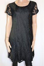 CROSSROADS Brand Black Lace Short Sleeve Shift Dress Size 14 BNWT #TS21