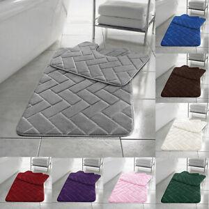 Block Bath Mats Set Memory Foam Pedestal Toilet Non Slip Bathroom Rug Sets 2 Pcs